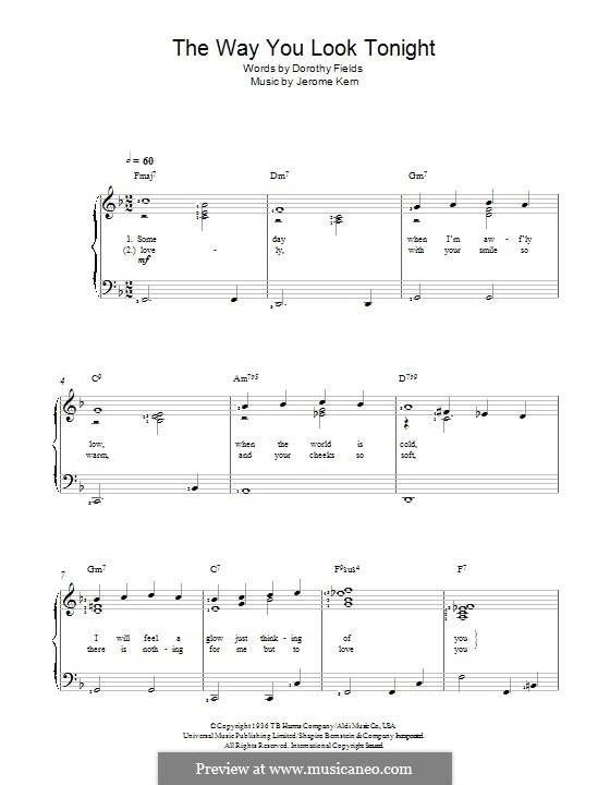 The Way You Look Tonight: Für Stimme und Klavier by Jerome Kern