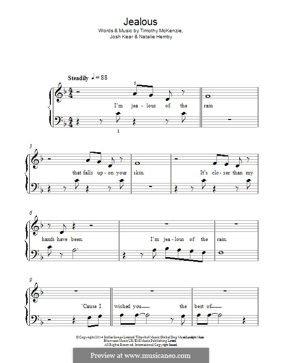 Jealous (Labrinth): Für Klavier by Josh Kear, Natalie Hemby, Timothy McKenzie