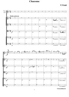 Chaconne in g-Moll: For violin and string orchestra by Tomaso Vitali