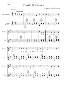 Corrido de Cananea: For recorder and guitar by folklore