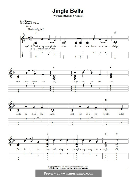 Jingle Bells (Printable scores): Für Ukulele by James Lord Pierpont