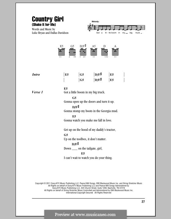 Country Girl (Shake It for Me): Text und Akkorde by Dallas Davidson
