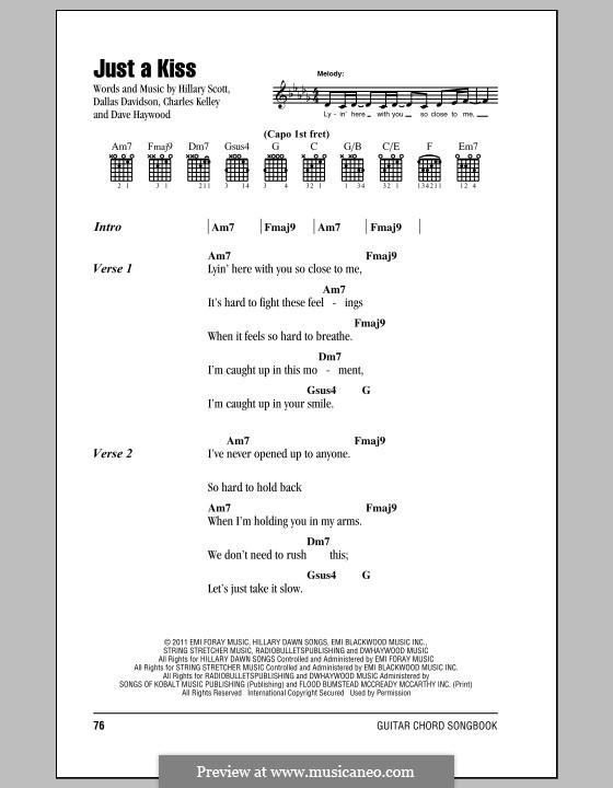 Just a Kiss Goodnight: Text und Akkorde by Charles Kelley, Dallas Davidson, David Haywood, Hillary Dawn Scott