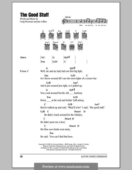 The Good Stuff (Kenny Chesney): Text und Akkorde by Craig Wiseman, Jim Collins