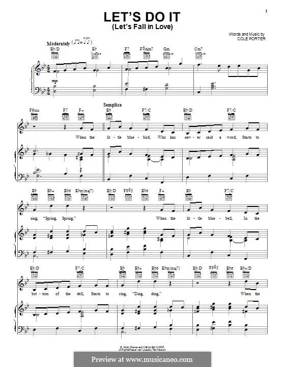 Let's Do It (Let's Fall in Love): Für Stimme und Klavier (oder Gitarre) by Cole Porter