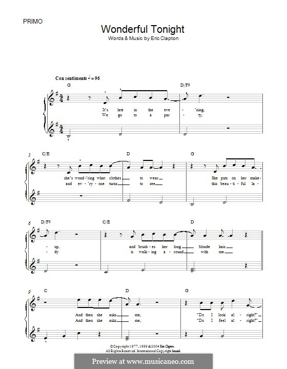 Wonderful Tonight: For piano with lyrics by Eric Clapton