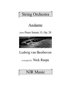 Sonate für Klavier Nr.15 'Pastorale', Op.28: Andante, arranged for string orchestra – score, parts by Ludwig van Beethoven