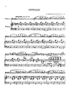 Serenade für Cello und Klavier, Op.37: Score, solo by Nikolai Rimsky-Korsakov