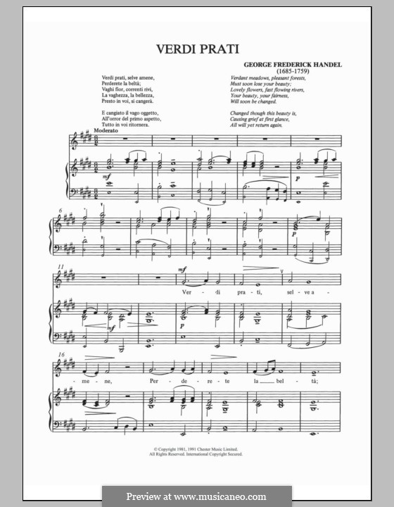 Alcina, HWV 34: Verdi prati, for voice and piano by Georg Friedrich Händel