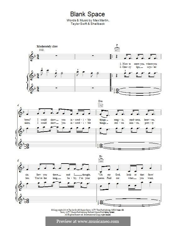 Blank Space: Für Stimme und Klavier (oder Gitarre) by Shellback, Max Martin, Taylor Swift
