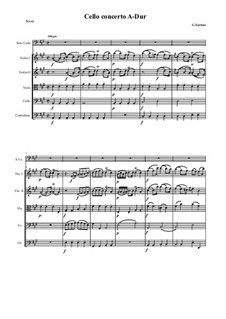 Concerto for Cello and Strings in A Major: Score and all parts by Giuseppe Tartini