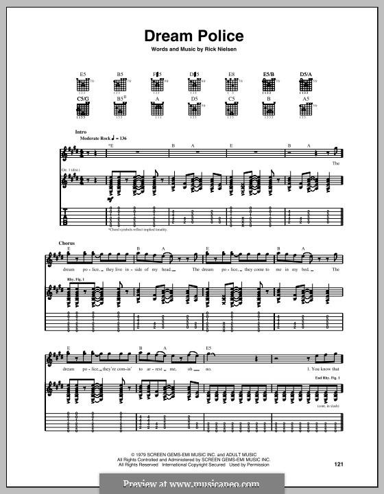 Dream Police (Cheap Trick): Für Gitarre mit Tabulatur by Rick Nielsen