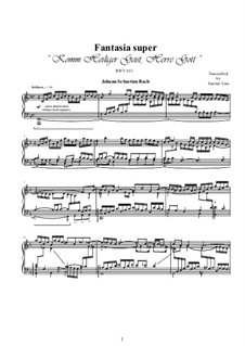 Choralvorspiele III (Leipziger Choräle): Komm, Heiliger Geist, Herre Gott, for piano, BWV 651 by Johann Sebastian Bach