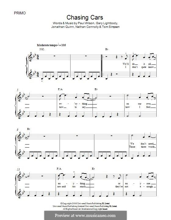 Chasing Cars (Snow Patrol): Für Klavier by Gary Lightbody, Jonathan Quinn, Nathan Connolly, Paul Wilson, Tom Simpson