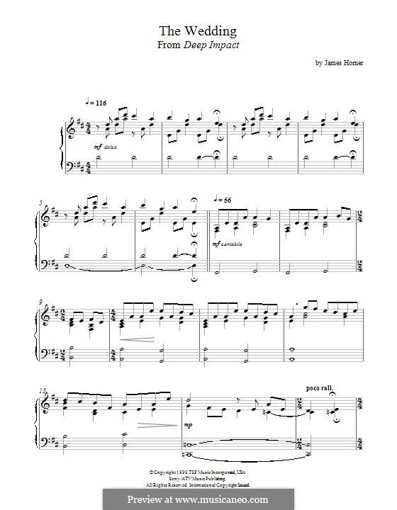 The Wedding (from 'Deep Impact'): Für Klavier by James Horner