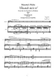 Quando men vo (Musetta's Waltz): For soprano and piano by Giacomo Puccini