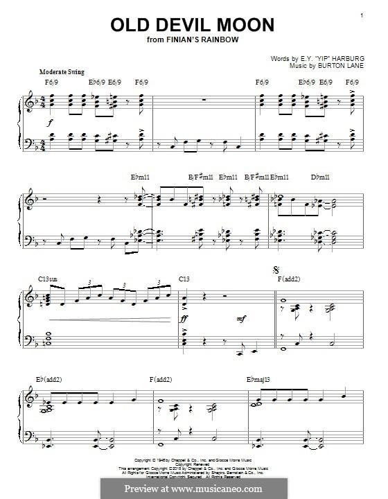 Old Devil Moon: Für Klavier by Burton Lane