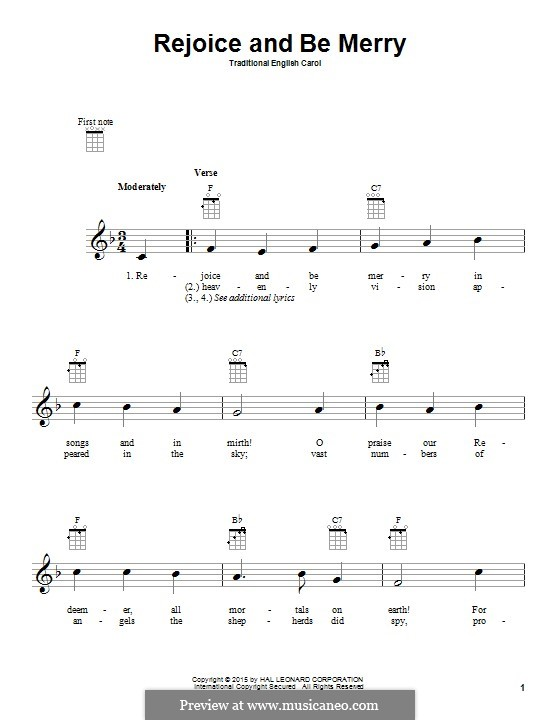 Rejoice and Be Merry (The Gallery Carol): Für Ukulele by folklore