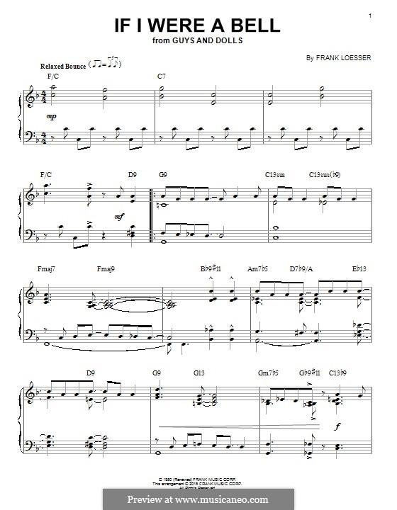 If I Were a Bell: Für Klavier by Frank Loesser