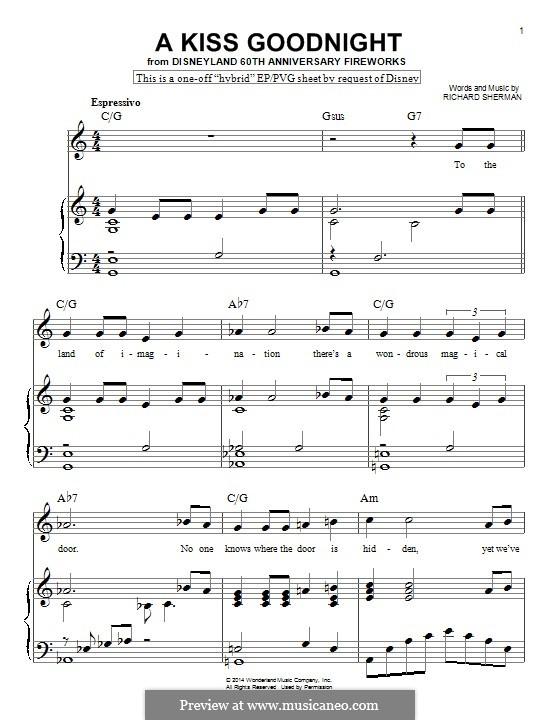 A Kiss Goodnight: Für Klavier by Richard M. Sherman