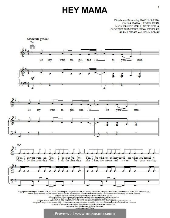 Hey Mama (feat. Nicki Minaj & Afrojack): Für Stimme und Klavier (oder Gitarre) by Alan Lomax, David Guetta, Esther Dean, Giorgio Tuinfort, John A. Lomax, Nick van de Wall, Sean Douglas