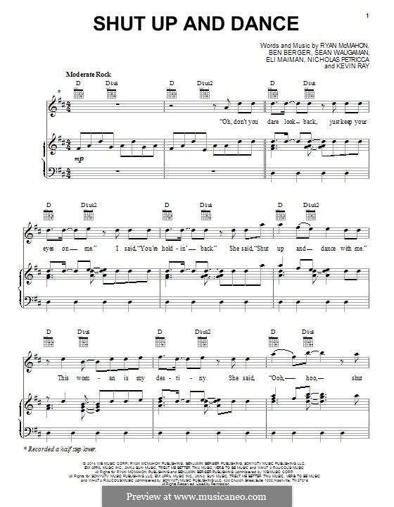 Shut Up and Dance (Walk the Moon): Für Stimme und Klavier (oder Gitarre) by Nicholas Petricca, Ryan McMahon, Eli Maiman, Ben Berger, Sean Waugaman