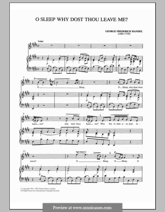 Semele, HWV 58: O, sleep, why dost thou leave me by Georg Friedrich Händel
