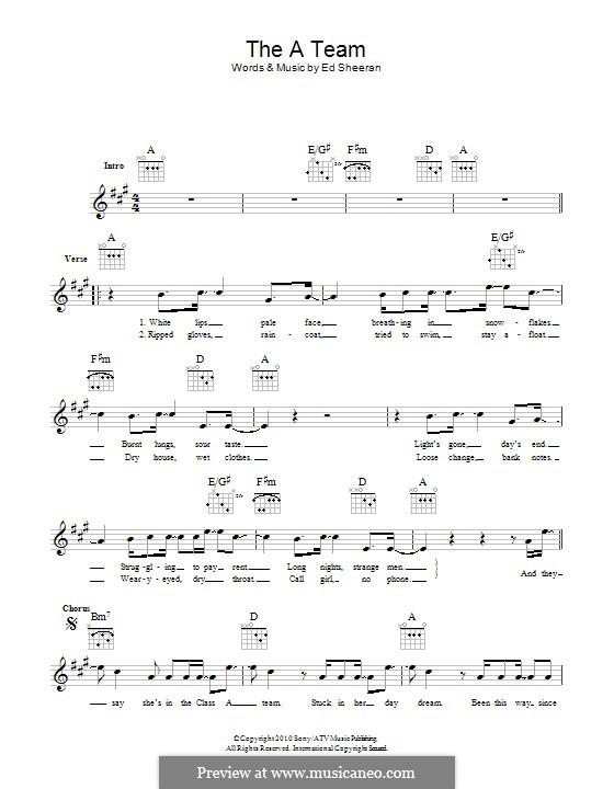 The a Team: Text und Akkorde by Ed Sheeran