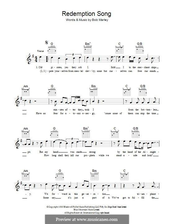 Redemption Song Von B Marley Noten Auf Musicaneo