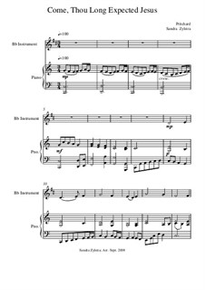 Come, Thou Long-Expected Jesus: Score for two performer (in B Flat) by Rowland Huw Prichard