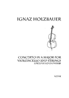 Concerto in A: For violoncello and strings by Ignaz Holzbauer