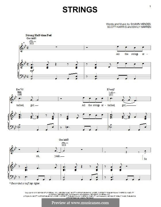 Strings: Für Stimme und Klavier (oder Gitarre) by Scott Harris, Shawn Mendes, Emily Warren