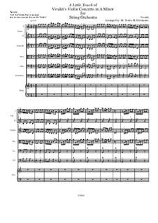 Concerto for Violin and Strings in A Minor: A Little Touch (Intermediate to Advanced) by Antonio Vivaldi