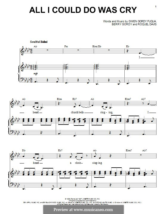 All I Could Do Was Cry (Etta James): Für Stimme und Klavier by Berry Gordy, Gwen Gordy Fuqua, Roquel Davis
