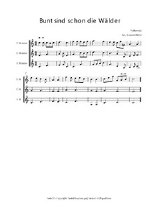 Bunt sind schon die Wälder - Trio für Violinen oder andere Melodieinstrumente: Bunt sind schon die Wälder - Trio für Violinen oder andere Melodieinstrumente, Op.01035 by folklore