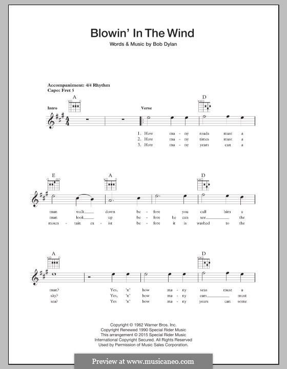 Blowin' in the Wind: Für Gitarre by Bob Dylan