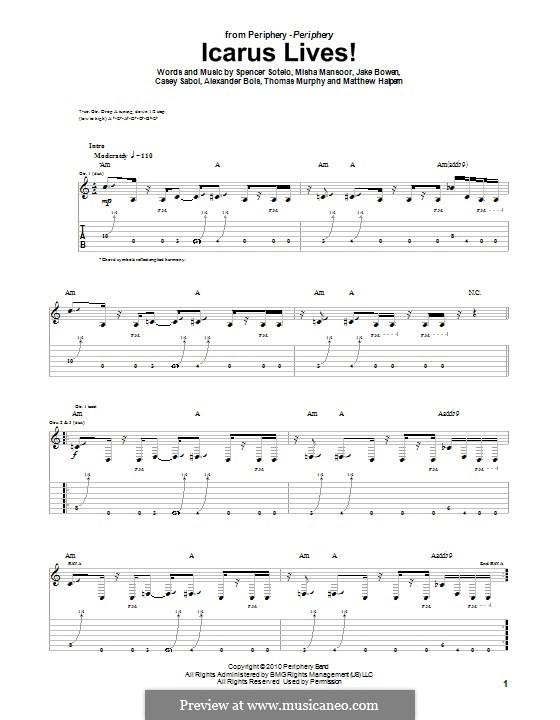 Icarus Lives! (Periphery): Für Gitarre mit Tabulatur by Jake Bowen, Matthew Halpern, Misha Mansoor, Spencer Sotelo, Alexander Bois, Thomas Murphy, Casey Sabol