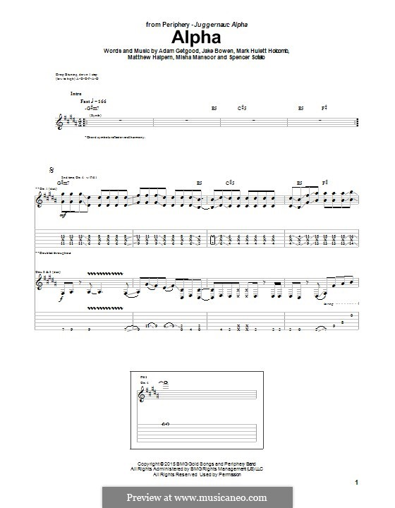 Alpha (Periphery): Für Gitarre mit Tabulatur by Adam Getgood, Jake Bowen, Mark Hulett Holcomb, Matthew Halpern, Misha Mansoor, Spencer Sotelo