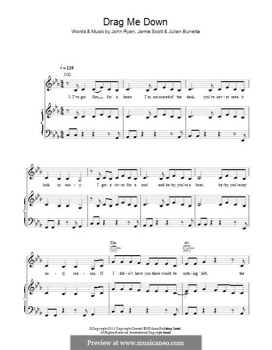 Drag Me Down (One Direction): Für Stimme und Klavier (oder Gitarre) by Julian Bunetta, Jamie Scott, John Henry Ryan