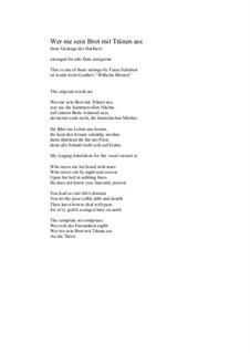 Nr.2 Wer nie sein Brot mit Tränen ass: For alto flute and guitar by Franz Schubert
