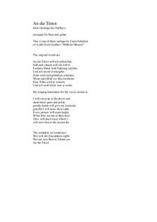 An die Türen (I will creep up to the doors): Für Flöte und Gitarre by Franz Schubert