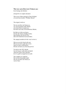 Nr.2 Wer nie sein Brot mit Tränen ass: For cor anglais and piano by Franz Schubert