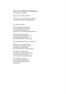 Nr.2 Wer nie sein Brot mit Tränen ass: For cor anglais and guitar by Franz Schubert