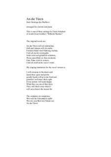 An die Türen (I will creep up to the doors): Für Klarinette und Klavier by Franz Schubert