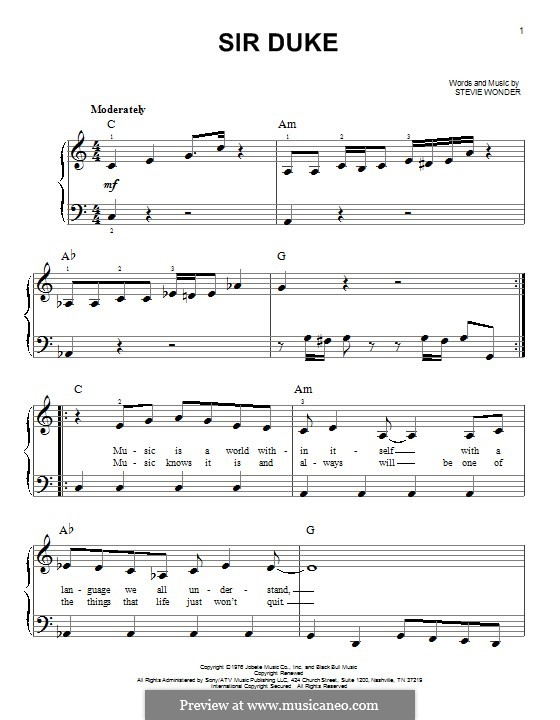 Sir Duke: Für Klavier by Stevie Wonder