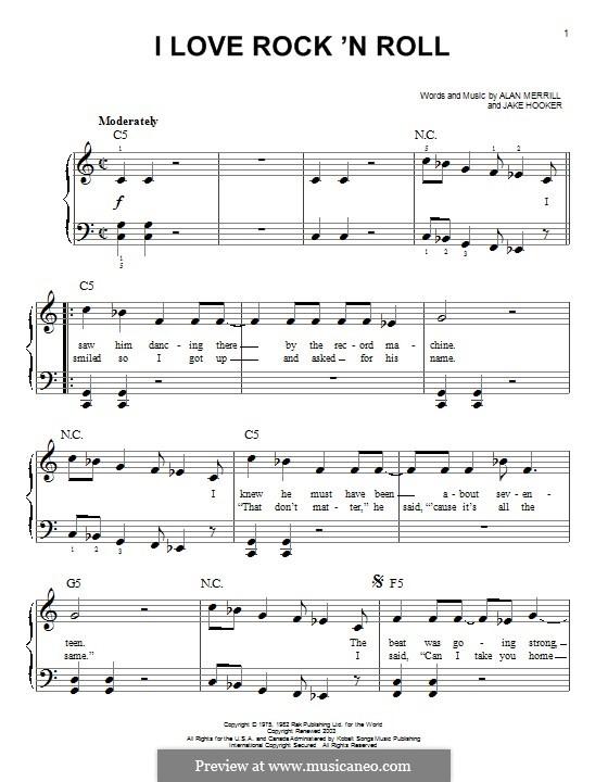 I Love Rock 'n Roll: Für Klavier by Alan Merrill, Jake Hooker