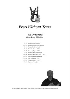 Frets Without Tears: Chapter Five - Introducing melodies on the Bass strings by Johann Sebastian Bach, Henry Purcell, folklore, Valentin Haussmann, Vincent Coley