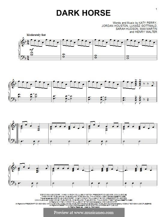 Dark Horse: Für Klavier by Katy Perry, Lukas Gottwald, Max Martin, Henry Russell Walter