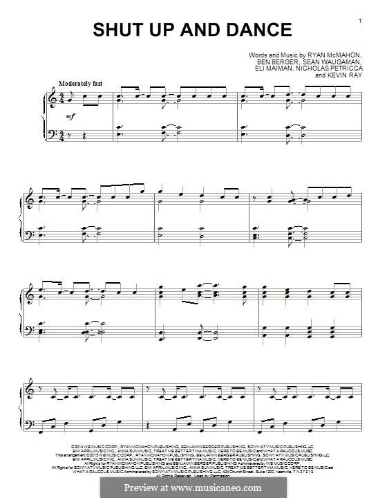 Shut Up and Dance (Walk the Moon): Für Klavier by Nicholas Petricca, Ryan McMahon, Eli Maiman, Ben Berger, Sean Waugaman