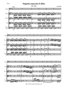 Concerto for Fagotto and Strings in G Major, RV 494: Score and all parts by Antonio Vivaldi